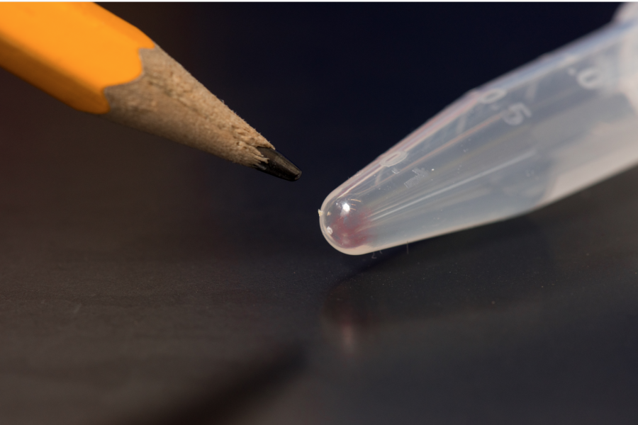 All the movies, images, emails and other digital data from more than 600 basic smartphones (10,000 gigabytes) can be stored in the faint pink smear of DNA at the end of this test tube.Tara Brown Photography/ University of Washington